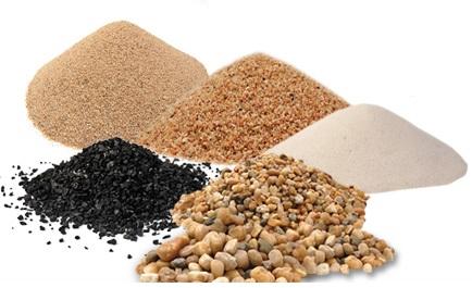Material Filtrante para Tratamento e Filtragem de Água. Areia filtrante, Seixo Rolado e Carvão Antracito